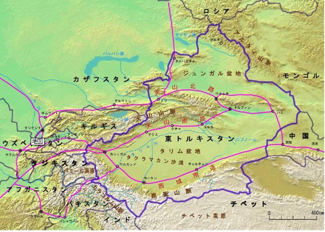 東トルキスタン地図 تۈركىستان 東トルキスタンは中央アジアに位置し、北京からは2400k