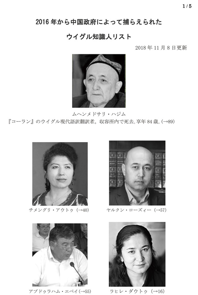 2016年から中国政府によって捕らえられた ウイグル知識人リスト